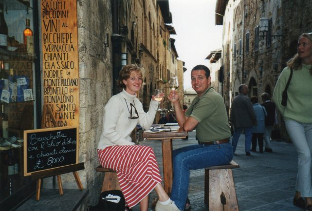 Enjoying a glass of vino in San Gimignano