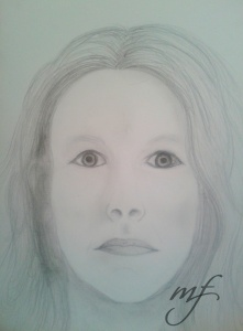 Self portrait...I just had to make my eyes more dramatic than they really are but the crooked lips are pretty accurate!