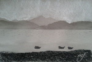 India ink, conte and charcoal on grey paper