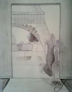 assignment 3 - using elements from above assignments to create imaginary scene. India ink, graphite and conte